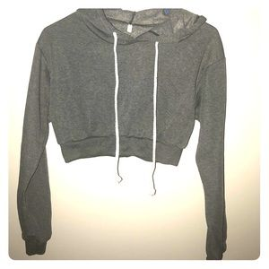 Tops - NWOT Charcoal Cropped Hoodie